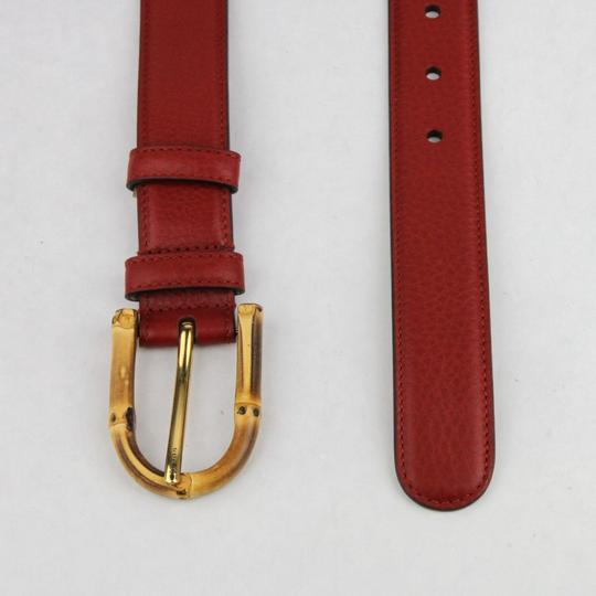 Gucci Rose Red Leather Belt With Bamboo Buckle 80/32 322954 6227 Image 2
