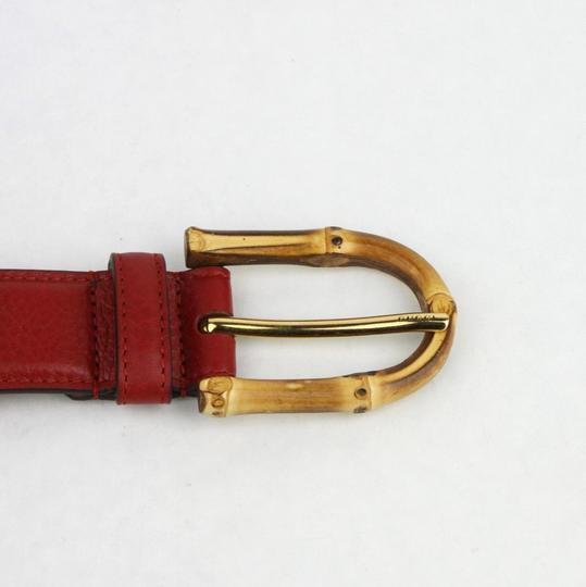 Gucci Rose Red Leather Belt With Bamboo Buckle 80/32 322954 6227 Image 3