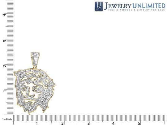 Jewelry Unlimited 10K Yellow Gold Diamond Cutout Jesus Face Pendant 2.25 Ct 2.5