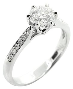White 1.17 Cts Round Cut Six-prong Set In 18kw Engagement Ring