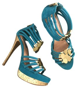 H By Halston aqua and gold Platforms