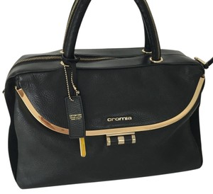 Cromia Leather Metal Hardware Zippered Style Shoulder Bag