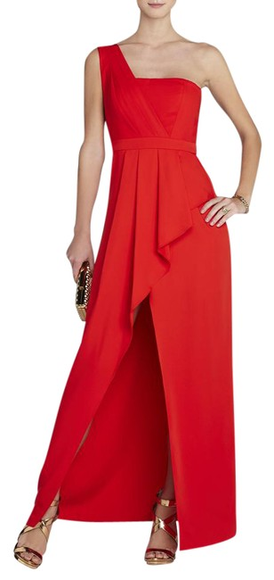 Item - Red Kristine One-shoulder Peplum Gown Long Cocktail Dress Size 4 (S)