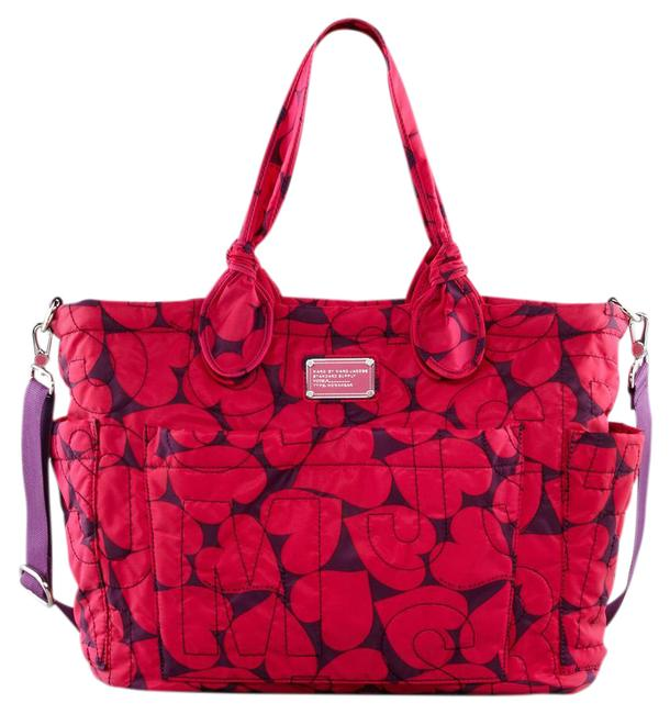Item - Eliza Heart Print Pretty Red Pink Nylon Diaper Bag