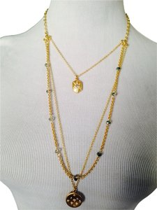 Dune & Willow Gold-Tone 3 Strand Green Crystal & Charm Necklace