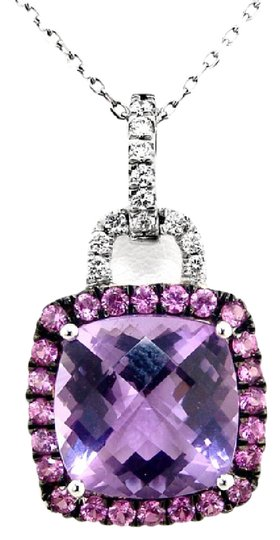 ABC Jewelry Amethyst and Diamond Pendant