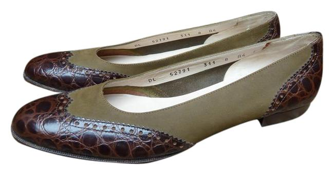 Item - Brown and Olive Green Croc Suede Flats Size US 8 Narrow (Aa, N)