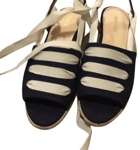 Nine West blue (dark blue) with cream/off white laces Wedges