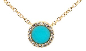 ABC Jewelry Turquoise and Diamond Necklace in Yellow Gold