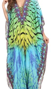blue green multi Maxi Dress by Sakkas