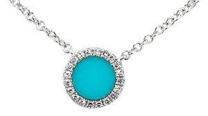 ABC Jewelry Turquoise and Diamond Necklace in White Gold
