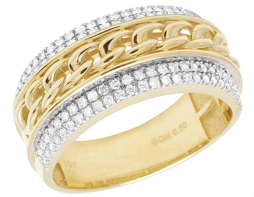 diamond gold wedding white wide mens pave bands band diamonds set rounded