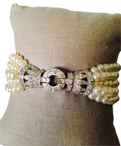 Small Freshwater Pearl 5-Strand Art Deco Crystal & Sterling Silver Bracelet
