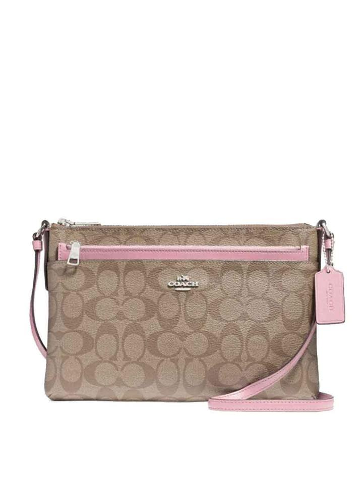 4dbeb30adfb4 Coach East West with Pop Up Pouch In Signature F58316 Multicolor Coated  Canvas Cross Body Bag