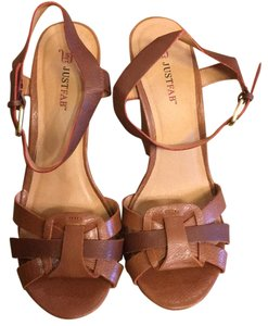 JustFab Cognac Wedges