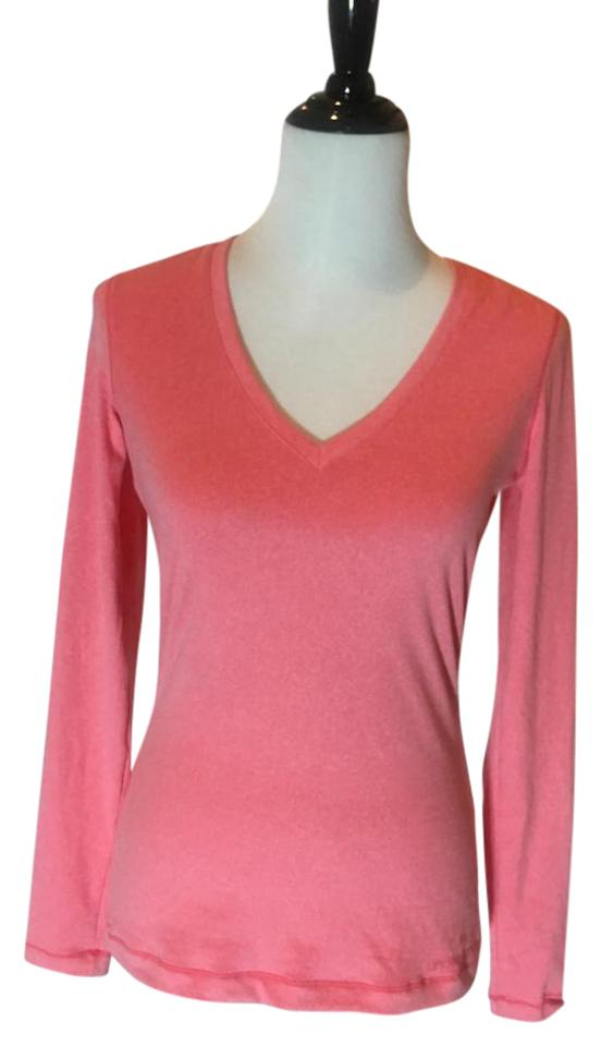 Under Armour Pink Red V Neck Tee Sweater Pullover Activewear Top ... f476ae7e53af