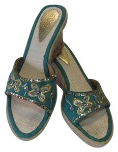 MOCARO Shoe Wedge Size 10m TAN, GREENISH/AQUA, SILVER, GOLD Mules