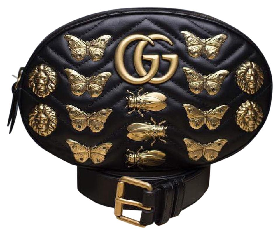 df511686d1d Gucci Marmont Gg Animal Studs Belt Black Leather Cross Body Bag ...