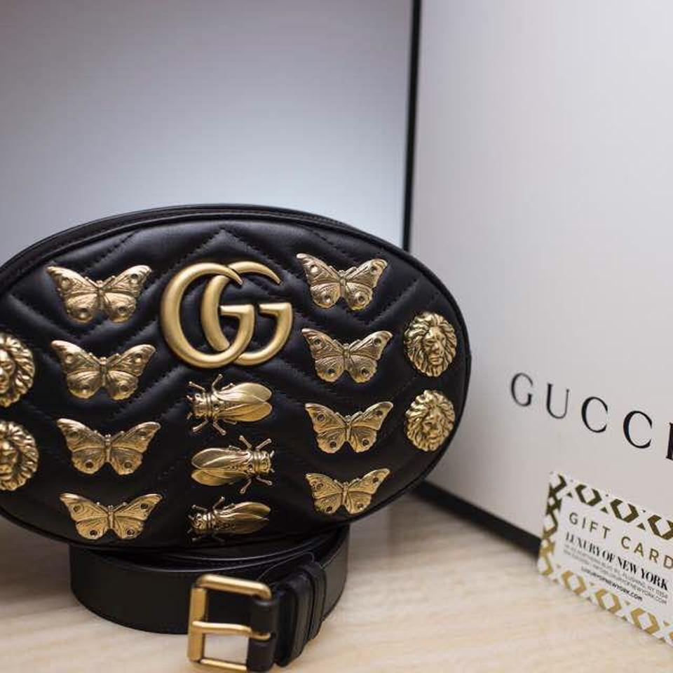 f1daa7e4b9f Gucci Marmont Gg Animal Studs Belt Black Leather Cross Body Bag - Tradesy