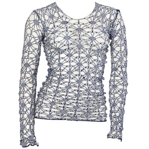 COMME des GARONS Knit Mesh Sheer Cut-out Floral Top white/blue