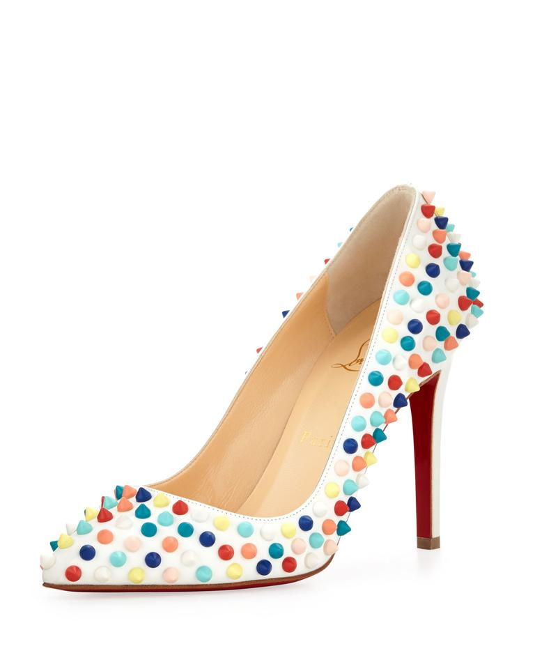 9ddf0024e58 White Multi Louboutin Pigalle Spikes Red Sole Pumps Size EU 38 (Approx. US  8) Regular (M, B) 45% off retail