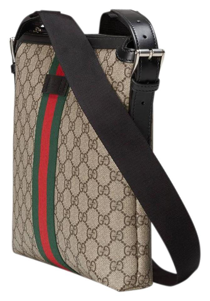 dd942aee73c97f Gucci Messenger A Slim Made In Our Signature Gg Supreme Canvas with Gree  Ebony Nylon Shoulder Bag