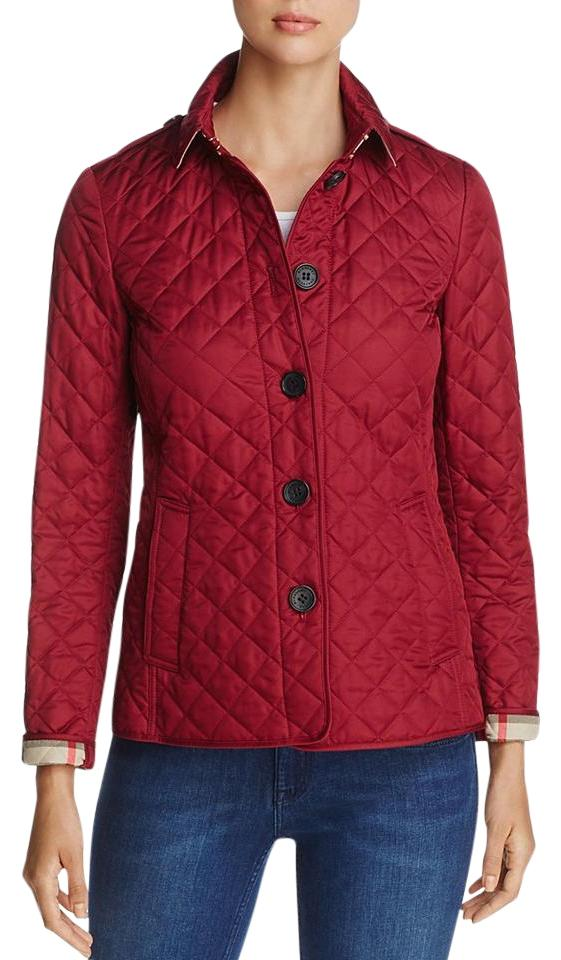 Burberry Dark Cherry Pink Ashurst Quilted Jacket Size 10