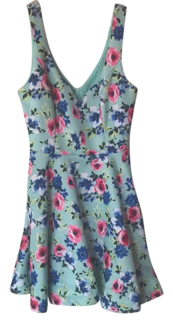 Preload https://item1.tradesy.com/images/b-darlin-mint-colorful-floral-party-fit-to-flare-with-underwire-hemming-short-casual-dress-size-8-m-21860475-0-1.jpg?width=400&height=650