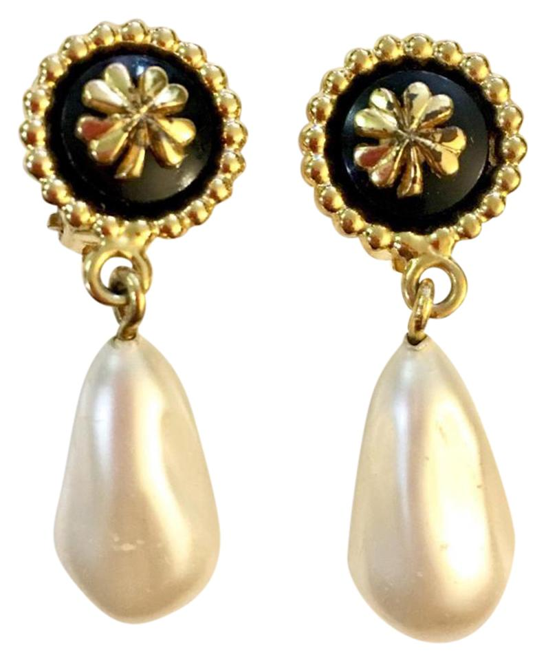 Chanel Vintage Clover Clip On Faux Pearl Drop Earrings