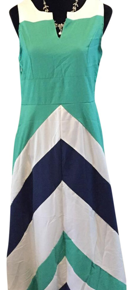 green white and navy blue chevron stripe color block long