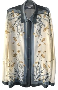 Bianca Nygard Floral Flowy Top Cream/Blue