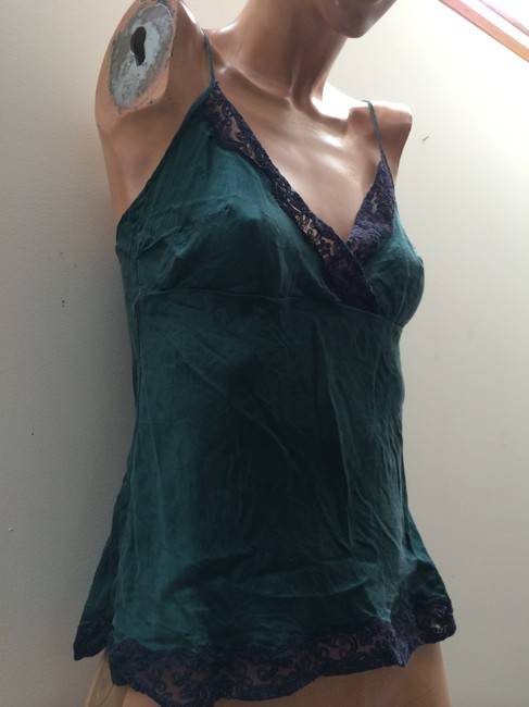 Les Copains Vintage Almost Used Talkingfashion Parladimoda Made In Italy Silk Lace Silk Small Silk Super Soft Top emerald green and black