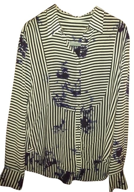 Item - Dark Blue White And Print Blouse Size 12 (L)