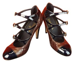 Chanel Leather Buckles Patent Quiled BURGUNDY NAVY Pumps