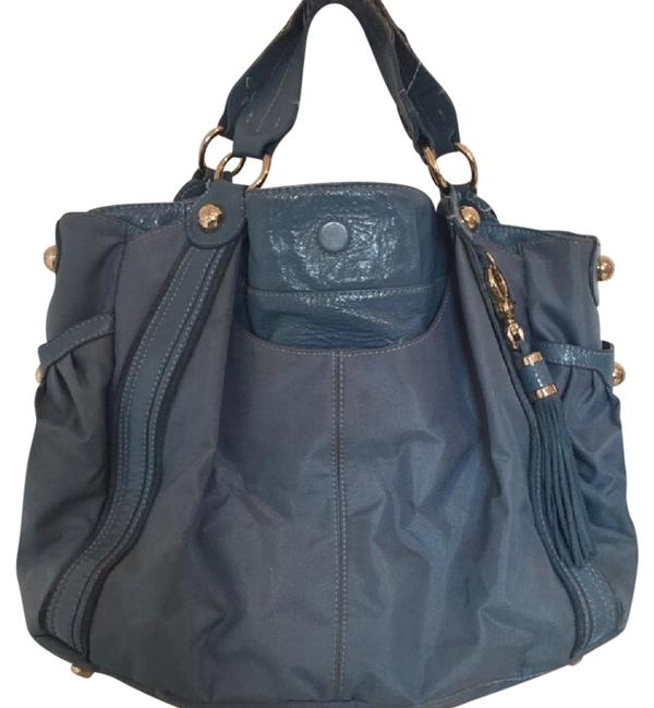 Item - Carry-all Blue Leather and Canvas Tote