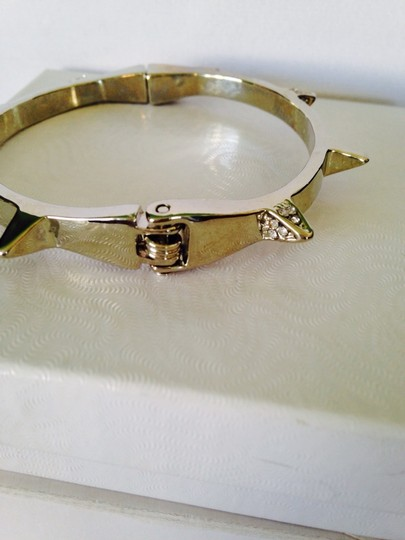 Other Silver-Tone Spike & Crystal Hinged Magnetic Bracelet
