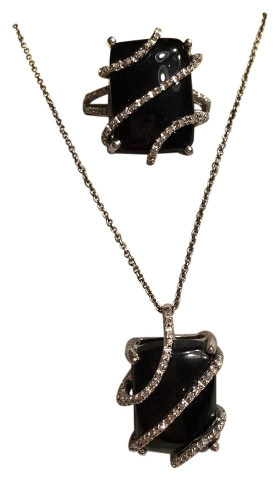 Black onyx necklace and set with diamond accents ring tradesy unknown black onyx necklace and ring set with diamond accents aloadofball Choice Image