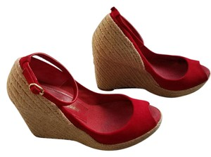 Jean-Michel Cazabat Retro Ankle Strap Barneys Ny Red Wedges