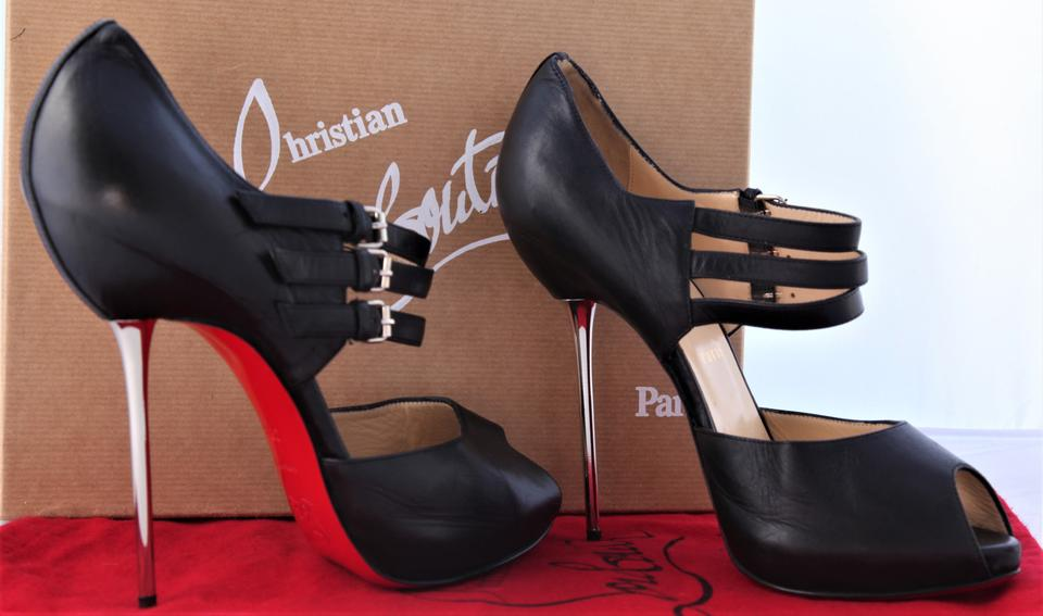 Heel Leather Pumps Fibbia Platform Ankle High Toe Lady Black Christian 38 Boot New It 5 Louboutin BZxn6qR