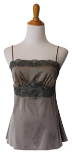 Leigh Bantivoglio Silk Lace Trim Crystal Beaded Embellished Top Taupe