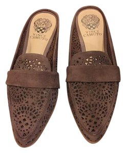 Vince Camuto Leather Flat Brown Mules