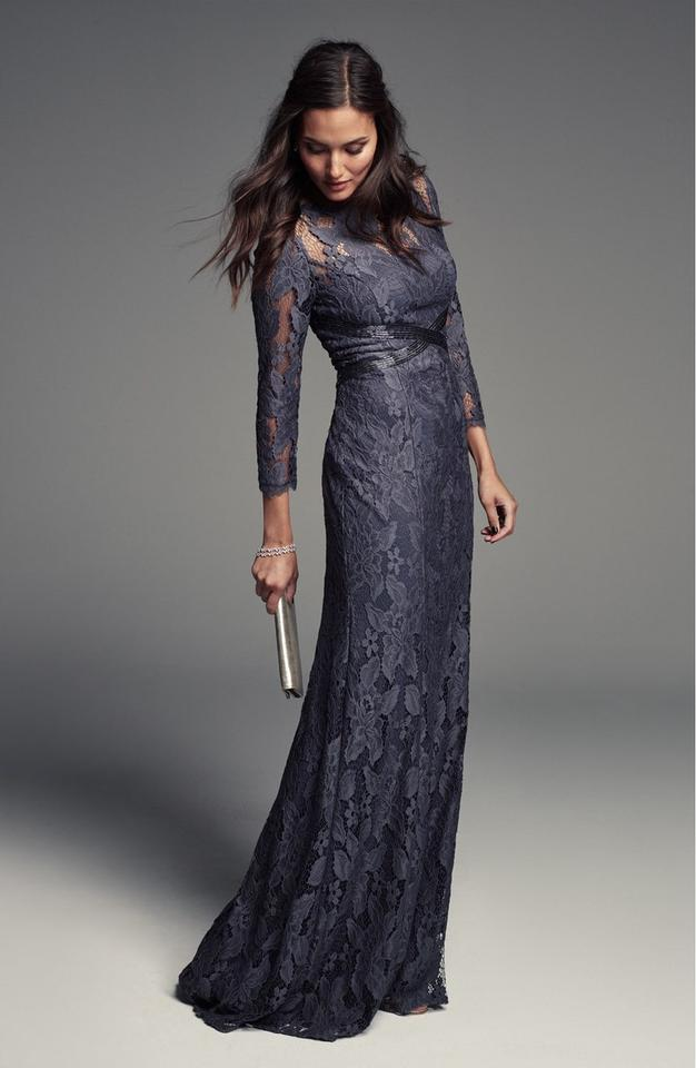 5a327716511 Adrianna Papell Gunmetal Grey Illusion Yoke Lace Gown 3 4 Sleeve ...