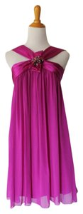 Marc Bouwer Trapeze Halter Rhinestone Brooch Silk Chiffon Silk Dress