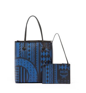 MCM Leather Tote in Munich Blue