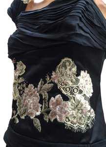 Adrianna Papell Stunning Evening Top Black with metallic gold and silver
