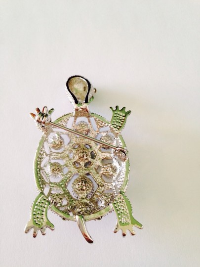 Other Embellished by Leecia Silver-Tone Green Crystal Pin