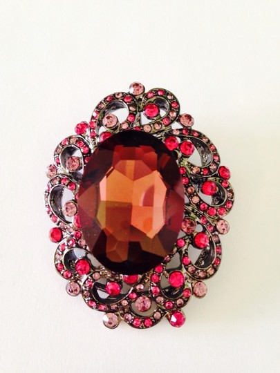 Other Embellished by Leecia Pendant & Pin, Shades Of Raspberries Crystal Brooch
