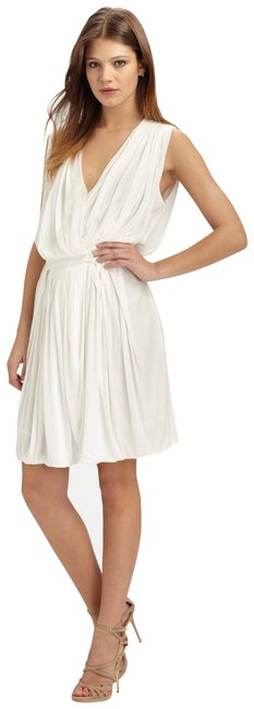 Item - White Alameda Draped Wrap-front Runway Mid-length Cocktail Dress Size 4 (S)