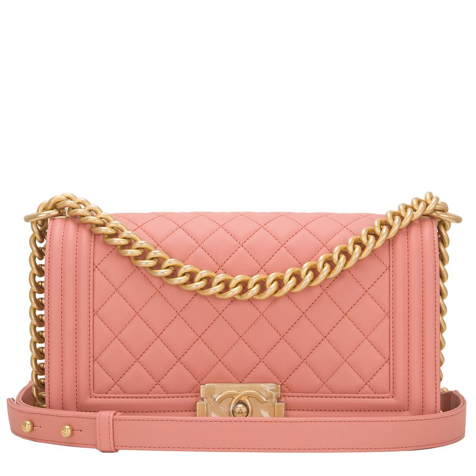 cab85d422759 Chanel Boy Powder Medium Quilted Caviar Pink Leather Shoulder Bag ...