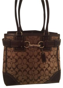 Coach Vintage Classic Canvas Leather Tote in Brown and Beige Signature